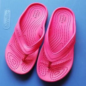 Girls Pink Crocs Flip Flops Sz C11 11